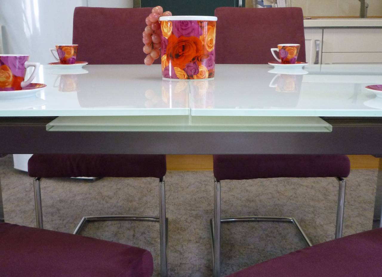 esstischgruppe mit glastisch und schwingst hlen polstermueller aus burgst dt. Black Bedroom Furniture Sets. Home Design Ideas