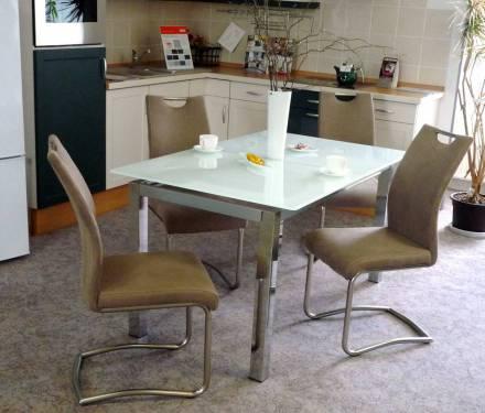 esstischgruppe mit glastisch und schwingst hlen. Black Bedroom Furniture Sets. Home Design Ideas